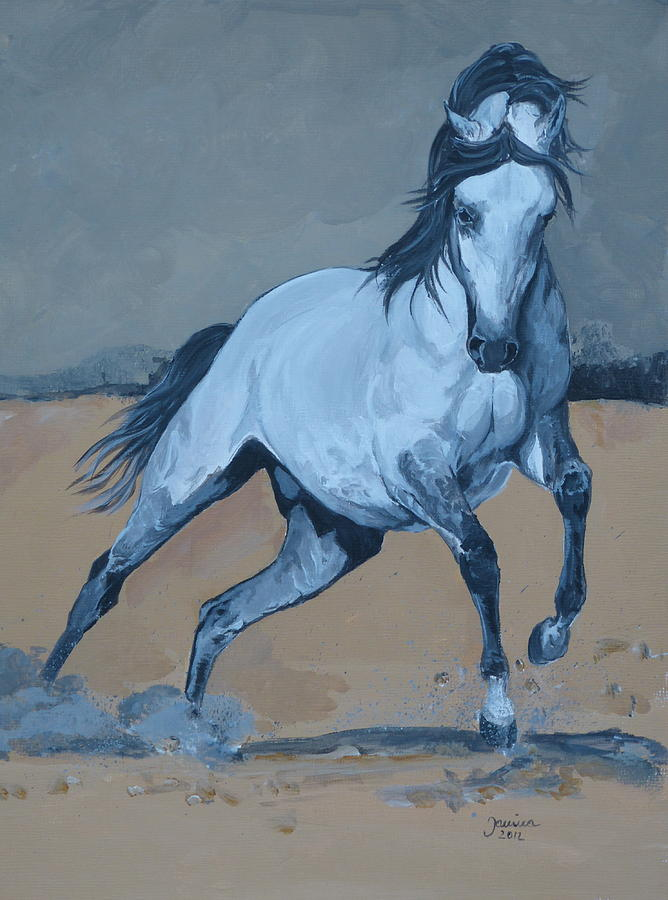 Equine Canvas Prints Painting - On My Way by Janina  Suuronen