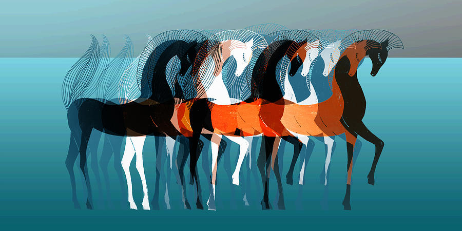 Abstract Digital Art - On Parade by Stephanie Grant