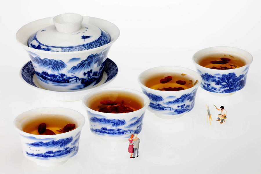 Longjing Painting - On Porcelain Ink Painting Exhibition Little People On Food by Paul Ge
