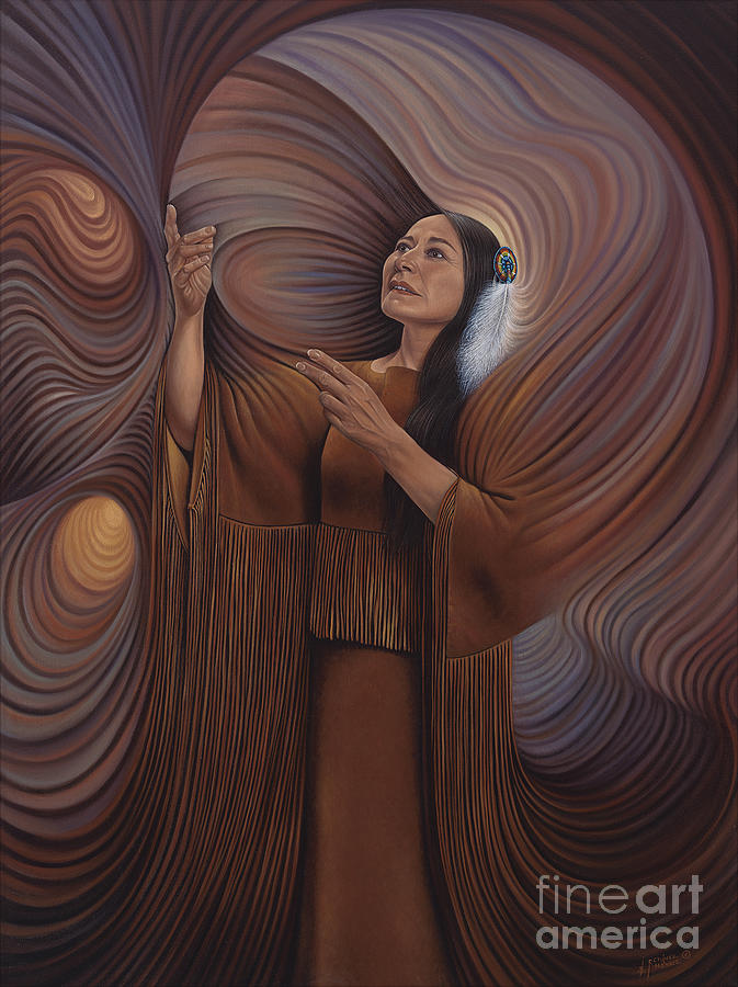 Bonnie-jo-hunt Painting - On Sacred Ground Series V by Ricardo Chavez-Mendez