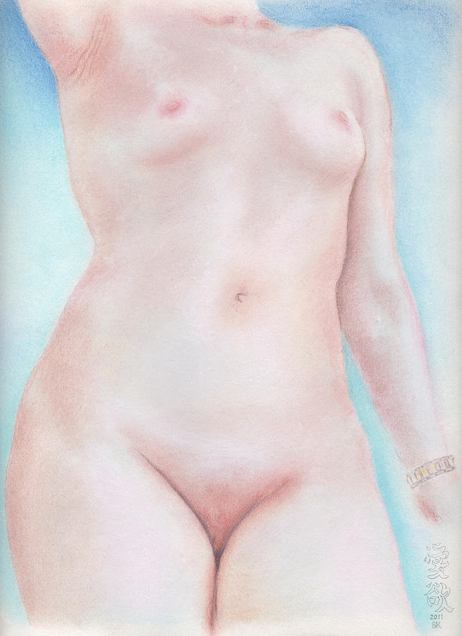 Female Nude Drawing - On the Artists Pedestal a Statuesque Female Nude Torso with Open Sky Behind by Scott Kirkman