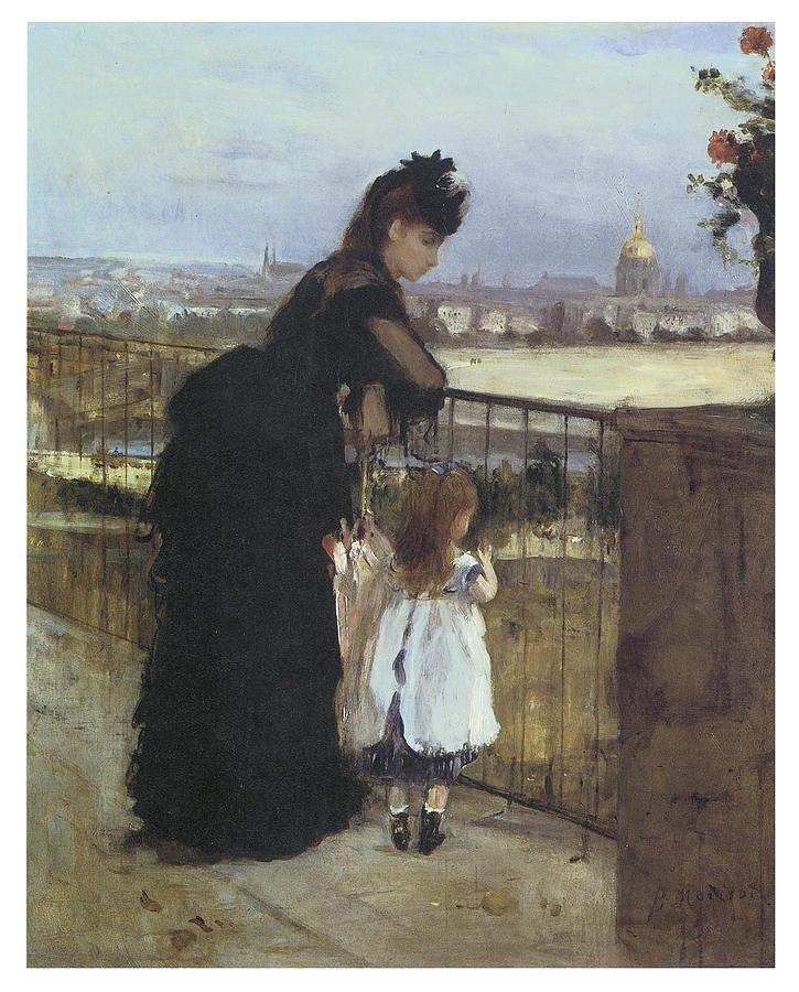 Berthe Morisot Painting - On The Balcony by Berthe Morisot