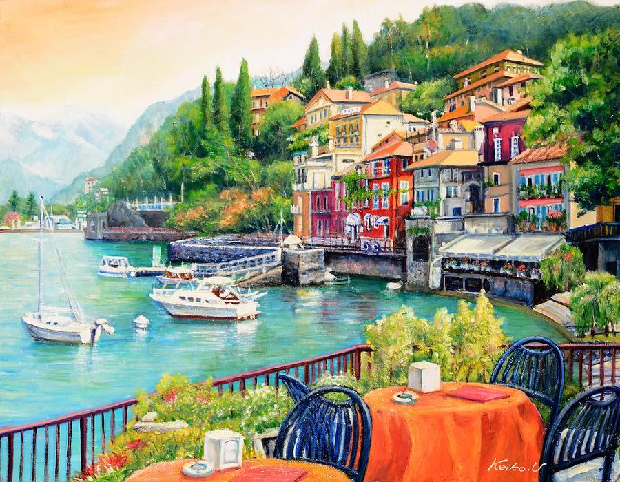 On the banks of Lake Como Painting by Keiko Ueda