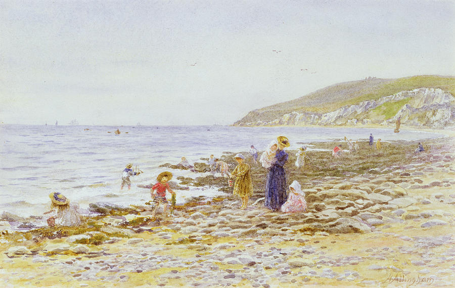 Beach Painting - On The Beach by Helen Allingham