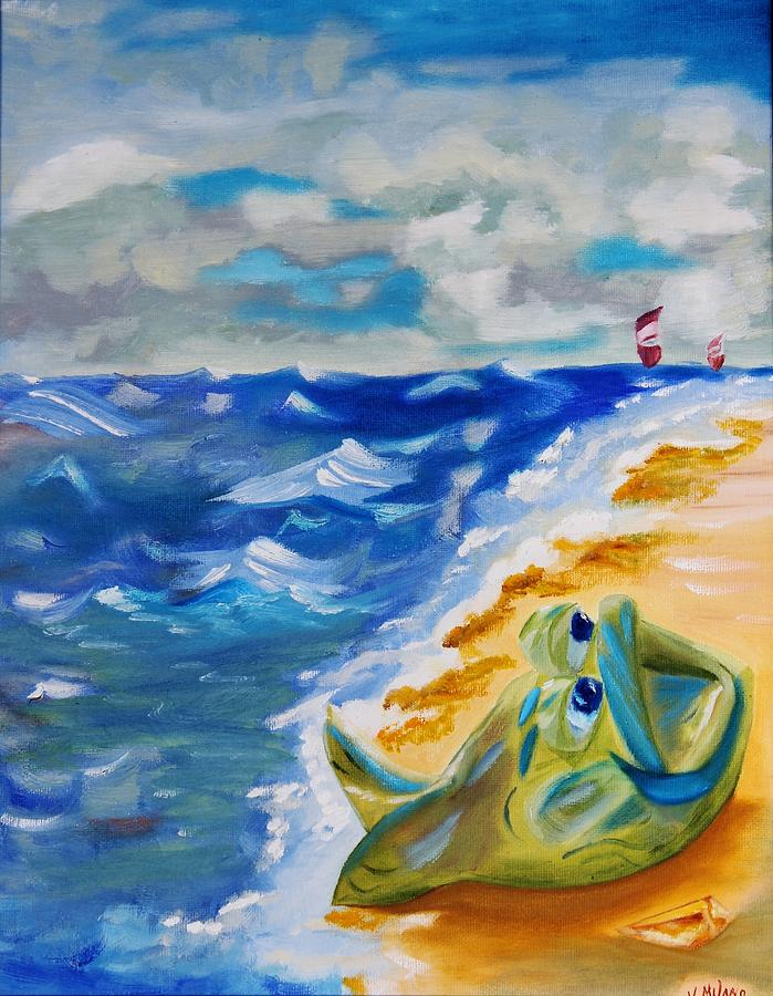 Fish Painting - On The Beach by Nancy Milano