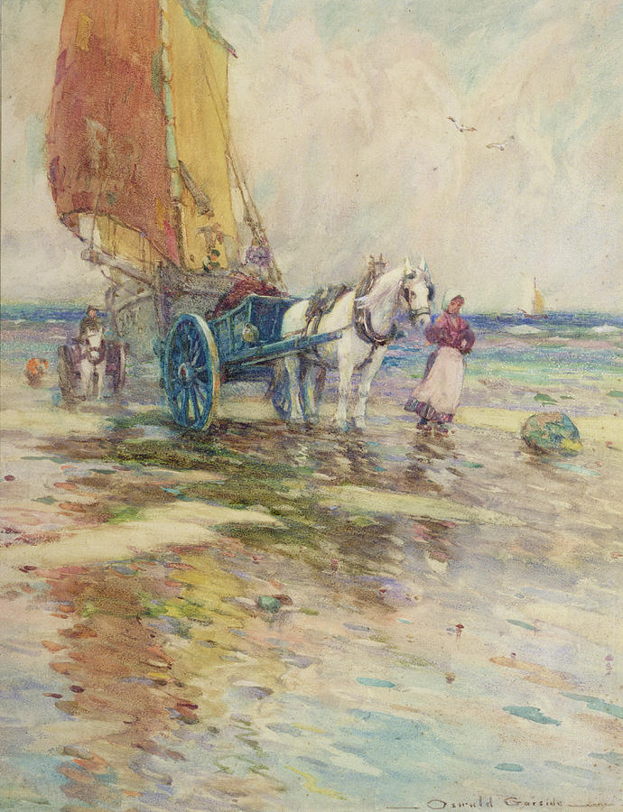 Horse And Cart Painting - On The Beach  by Oswald Garside