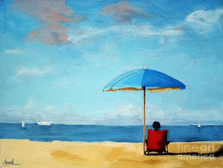 Beach Painting - On The Beach - Special Time by Linda Apple