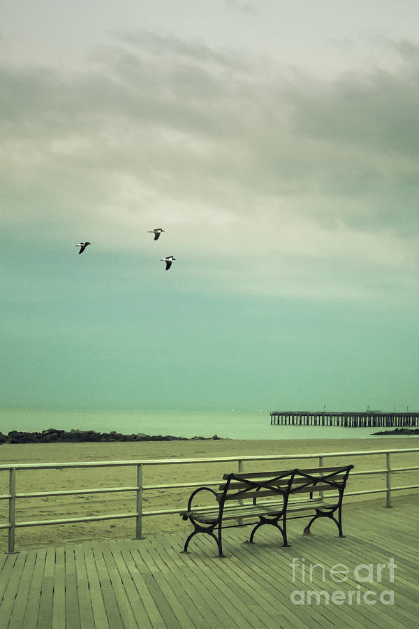 Bench Photograph - On The Boardwalk by Margie Hurwich
