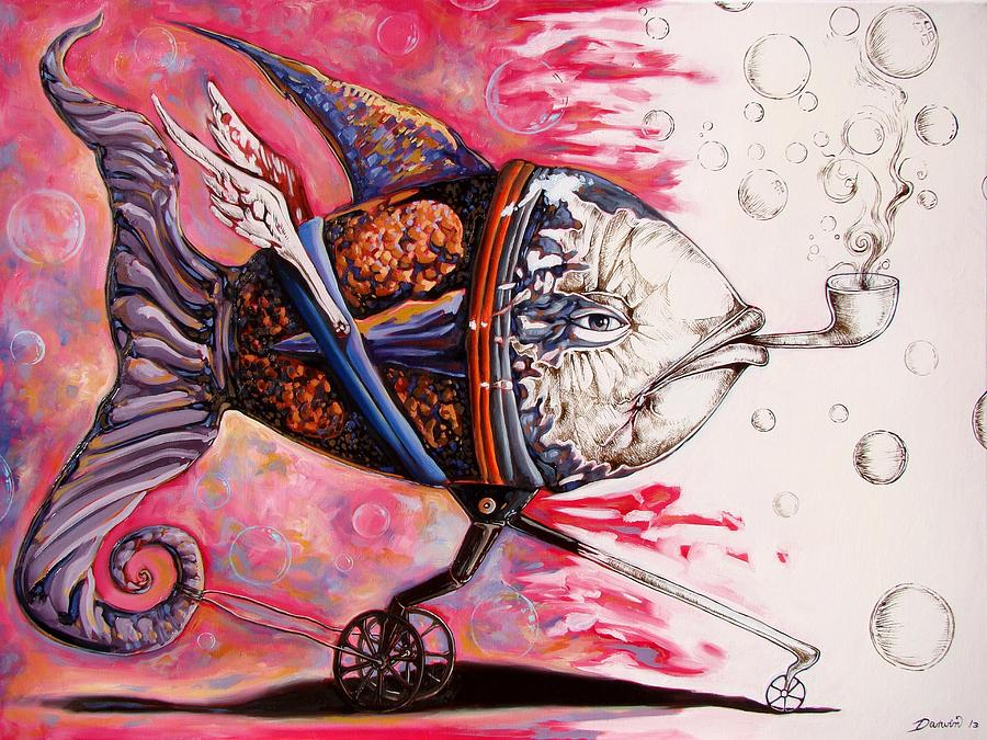 Surrealism Painting - On the conquer for land 3 - sudden return to drawing state by Darwin Leon