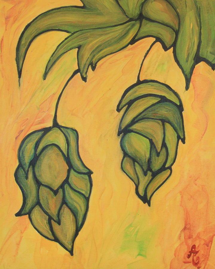 Hop Painting - On The Hop Vine  by Alexandra Ortiz de Fargher