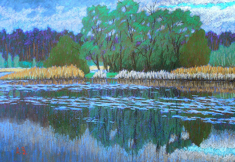 Graphic Arts Pastel - On The Lake by Aleksey Zuev