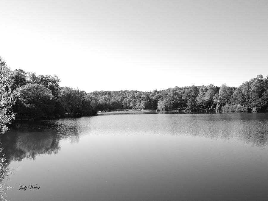 Autumn Photograph - On The Lake In Black And White by Judy  Waller