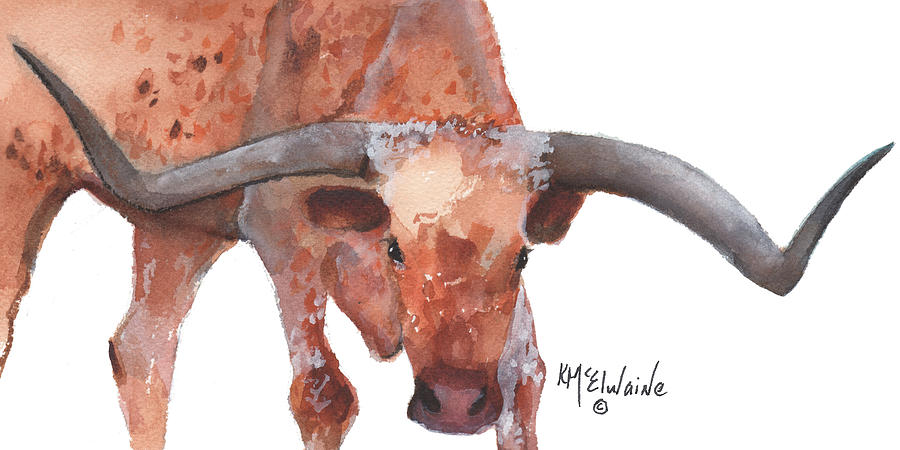 On The Level Texas Longhorn watercolor painting by KMcElwaine by Kathleen McElwaine