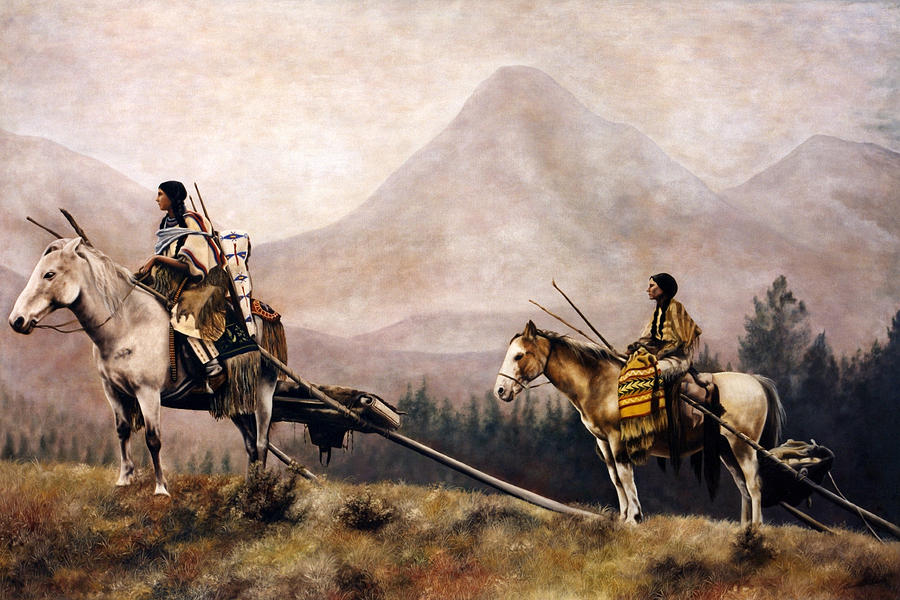 Indian Women Painting - On The Move by Glenda Stevens