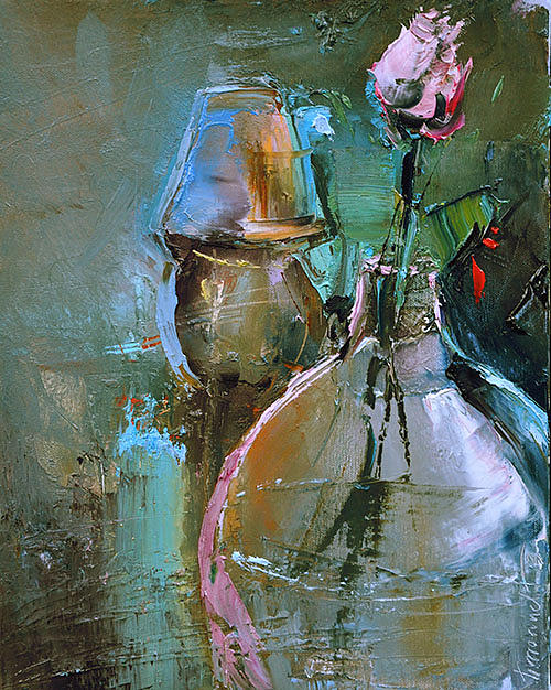 Rose Painting - On The Night Table by David Figielek