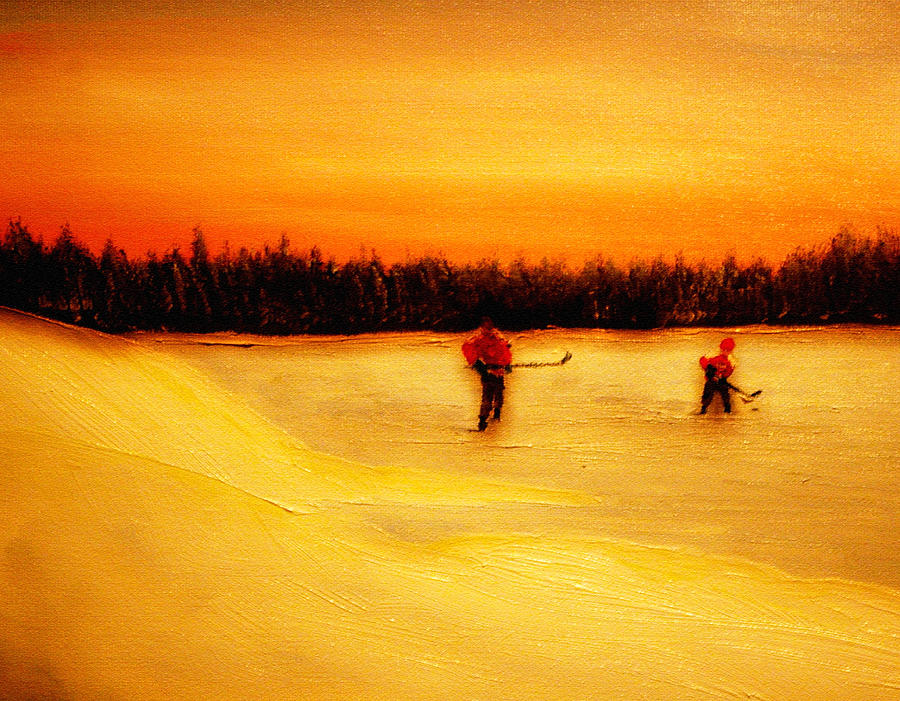 Shinny Hockey Painting Painting - On The Pond With Dad by Desmond Raymond