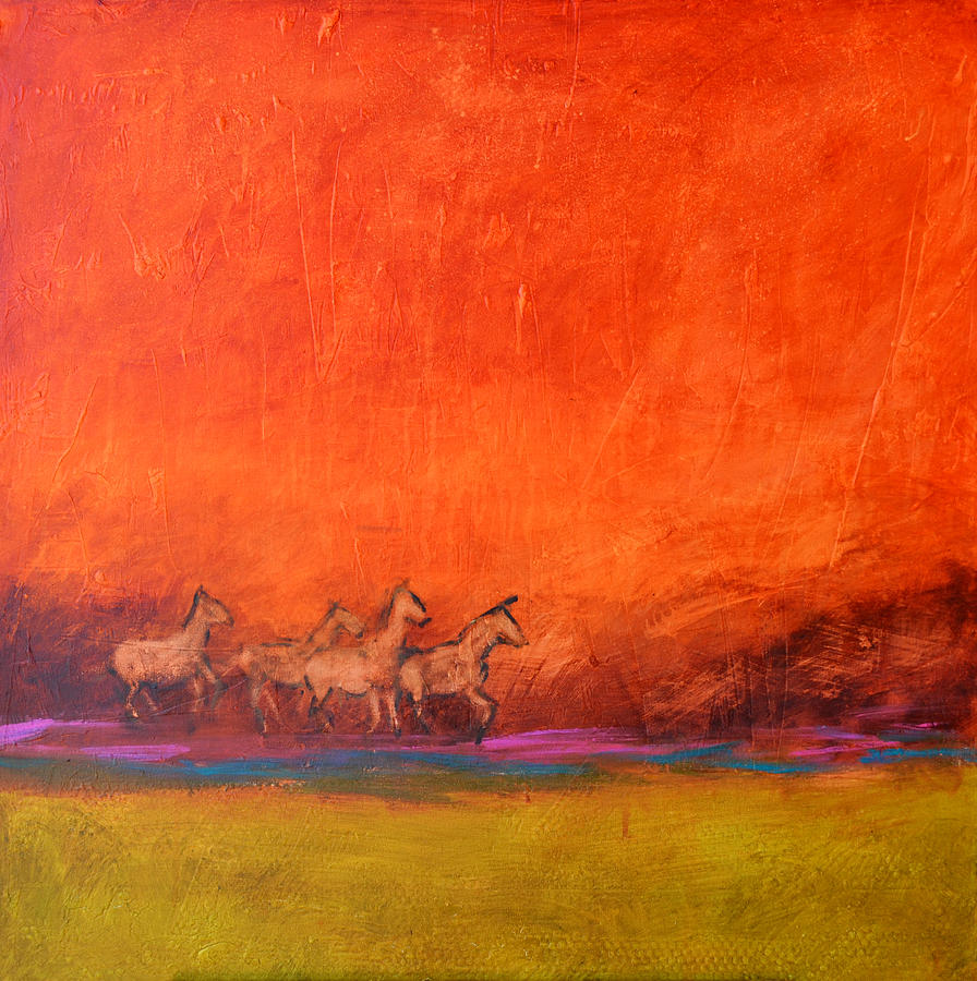 Horse Painting - On The Range by Filomena Booth