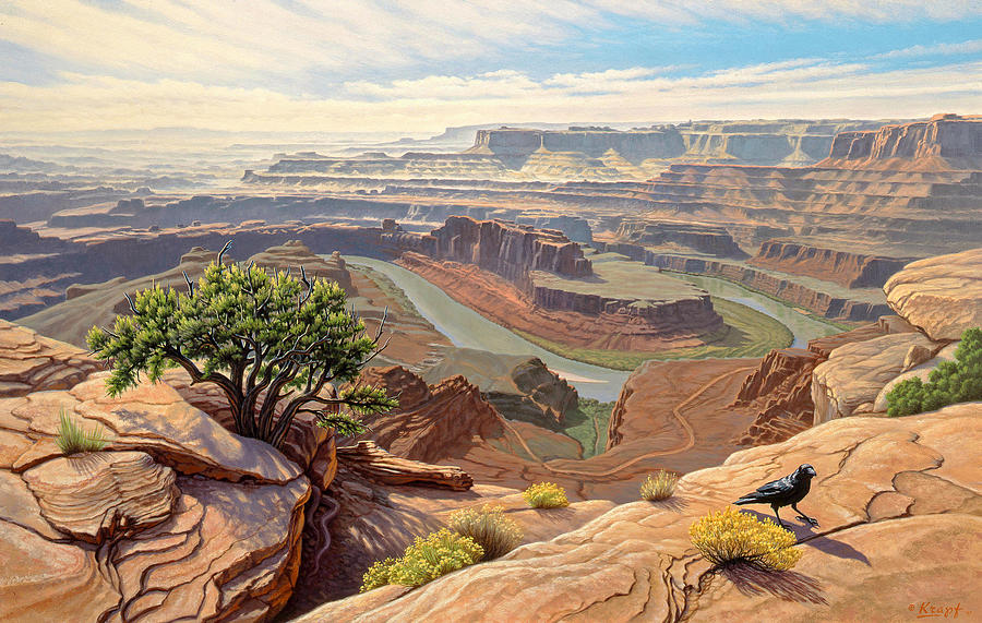 Landscape Painting - On The Rim-Dead Horse Point by Paul Krapf