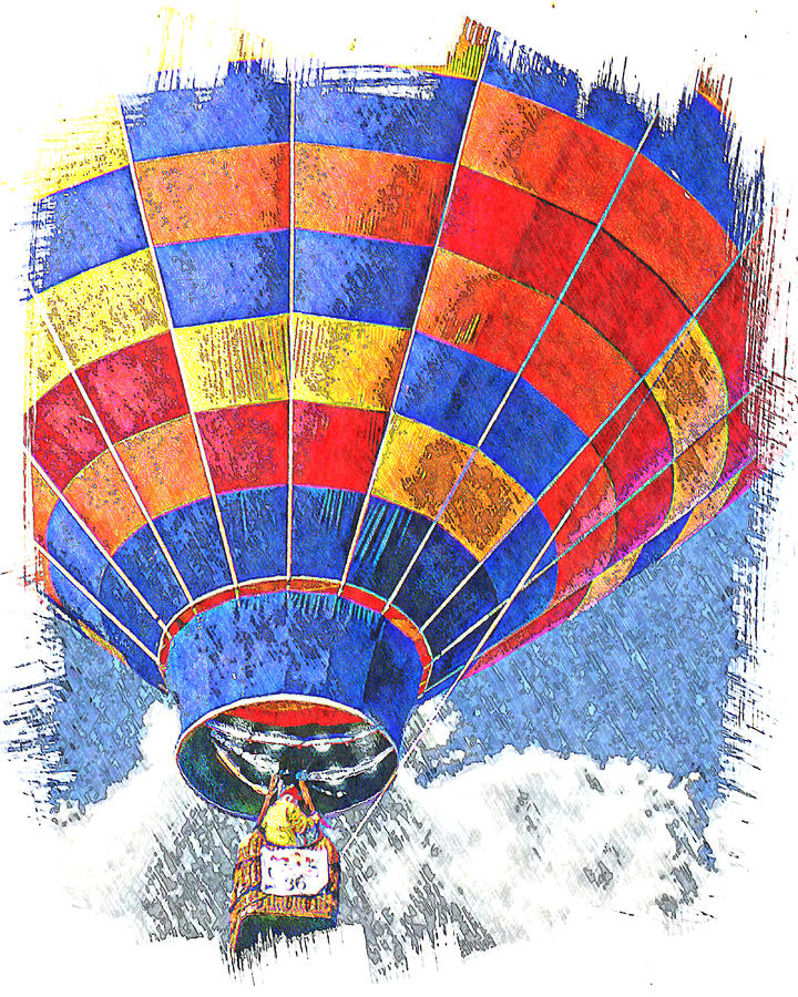 Hot Air Balloon Digital Art - On The Rise by Ken Evans