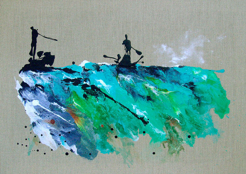 Abstract Landscape Painting - On The River Sports Art Abstract Art by Catherine Jeltes
