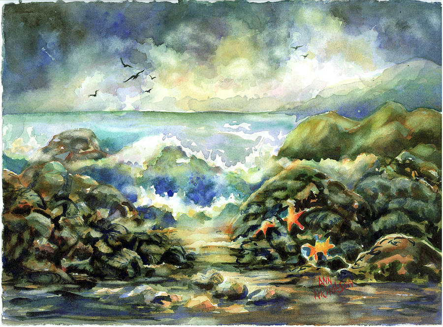 Waves Painting - On The Rocks by Ann  Nicholson