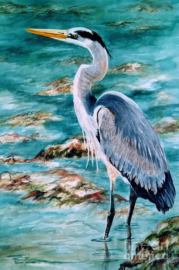 Great Blue Heron Painting - On The Rocks Great Blue Heron by Roxanne Tobaison