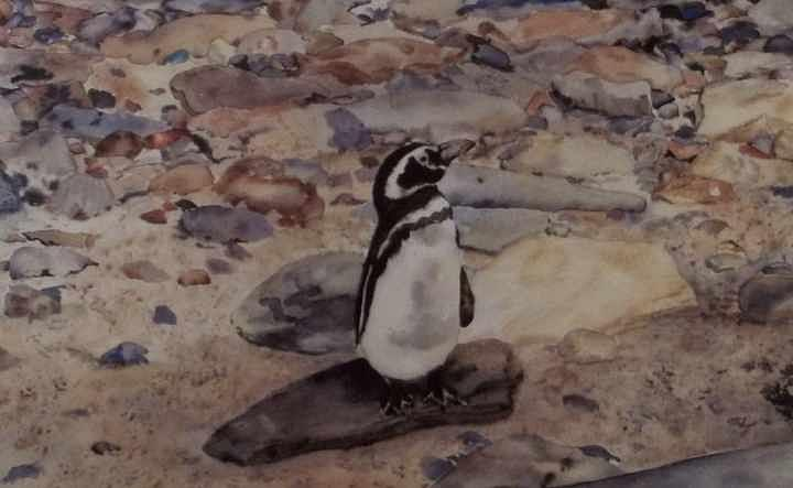 Penquin Painting - On The Rocks by Patty Brown