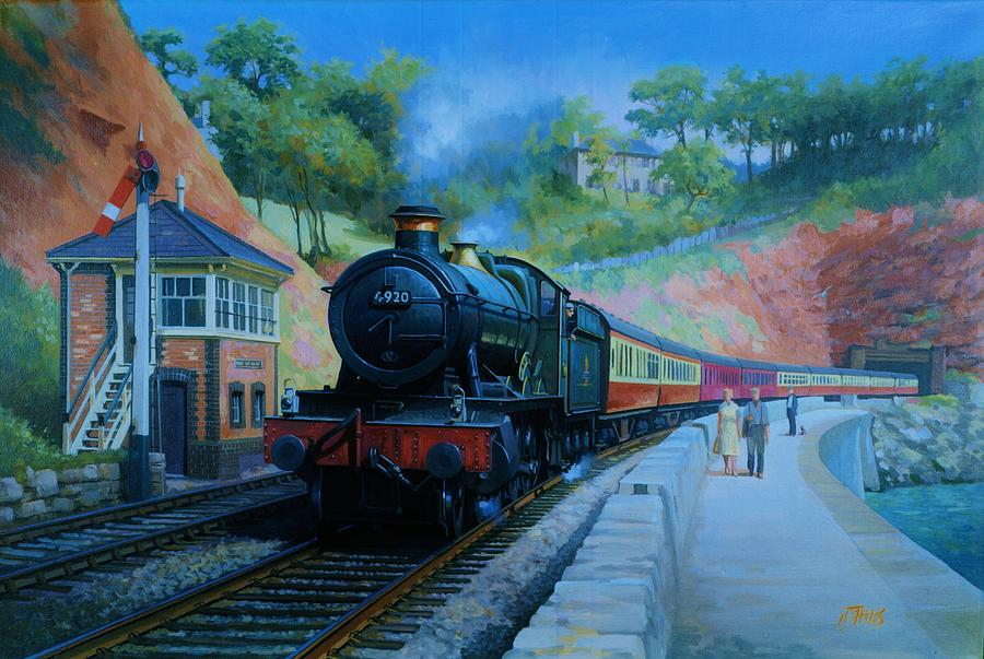 Train Painting - On The Sea Wall. by Mike  Jeffries