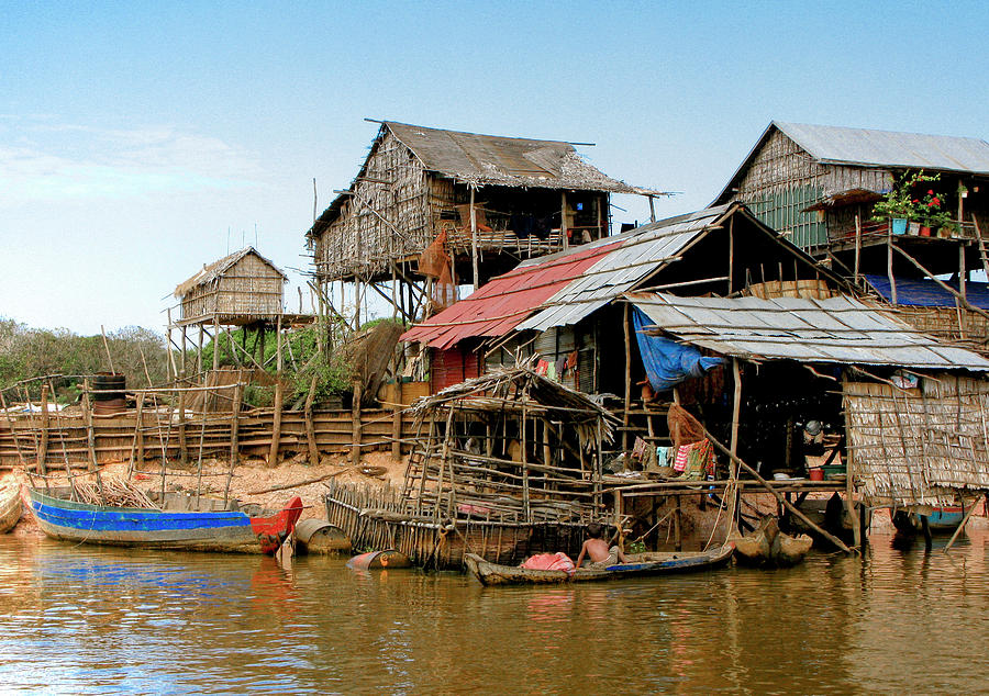 Bamboo Huts Photograph - On The Shores Of Tonle Sap by Douglas J Fisher