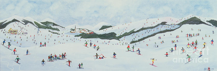 Snow; Ski School; Naive; Chalet Painting - On The Slopes by Judy Joel