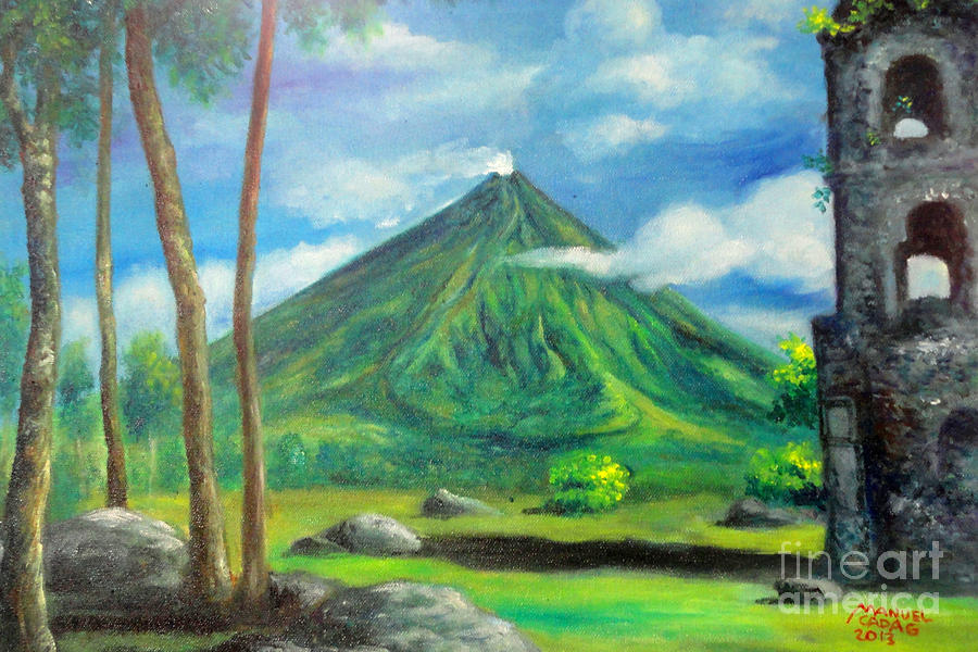 Mayon Painting - On The Spot Painting Of Mayon In Cagsawa by Manuel Cadag