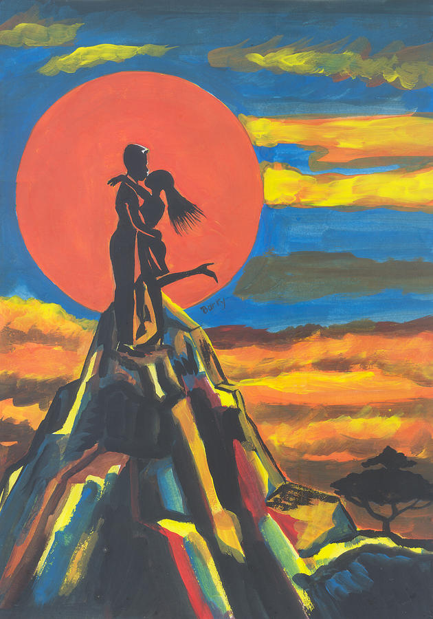Africa Painting - On The Summit Of Love by Emmanuel Baliyanga