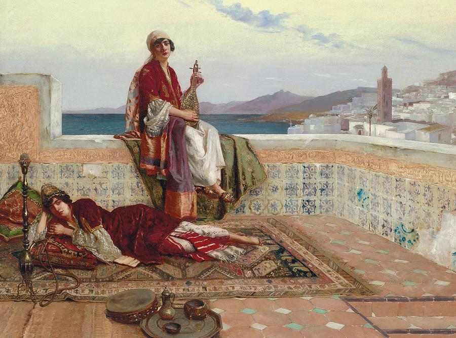 On The Terrace Painting - On The Terrace Tangiers by Rudolphe Ernst