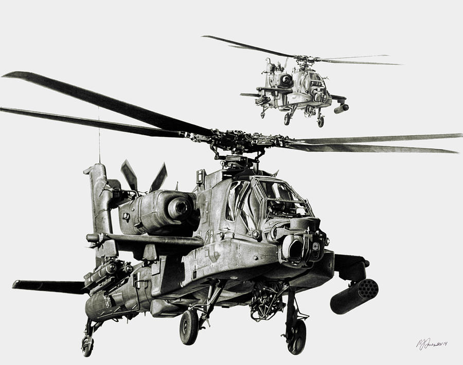 Attack Helicopter Drawing - On The Way by Murray Jones
