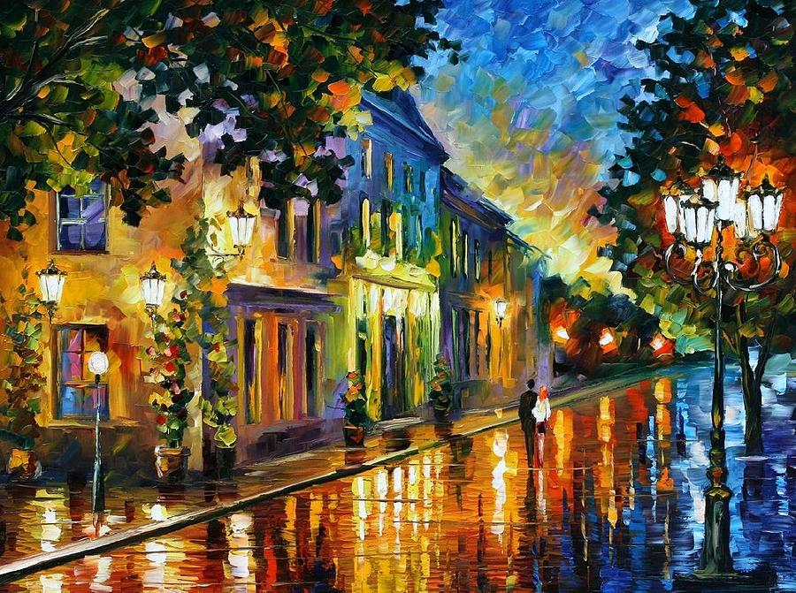 Afremov Painting - On The Way To Morning by Leonid Afremov