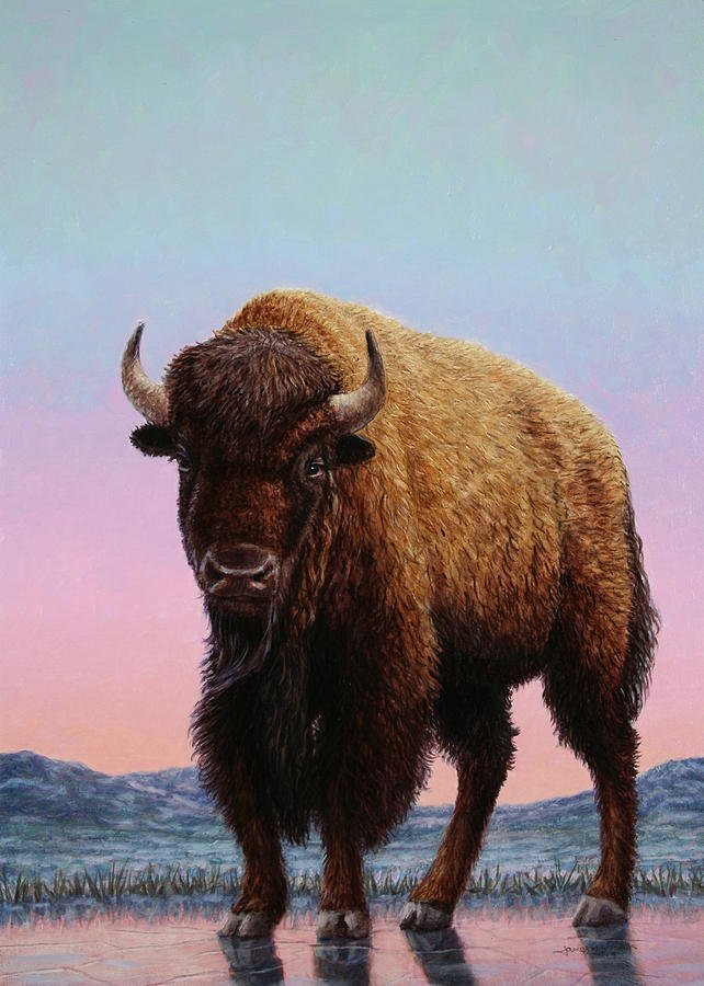 Buffalo Painting - On Thin Ice by James W Johnson