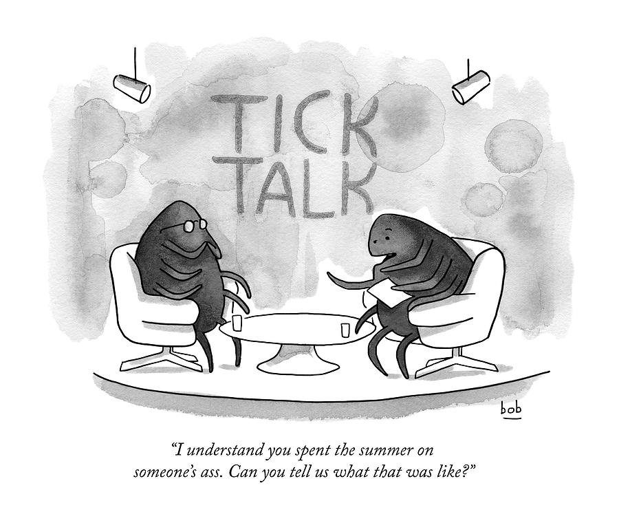 On Tick Interviews Another On A Talk Show Called Drawing by Bob Eckstein