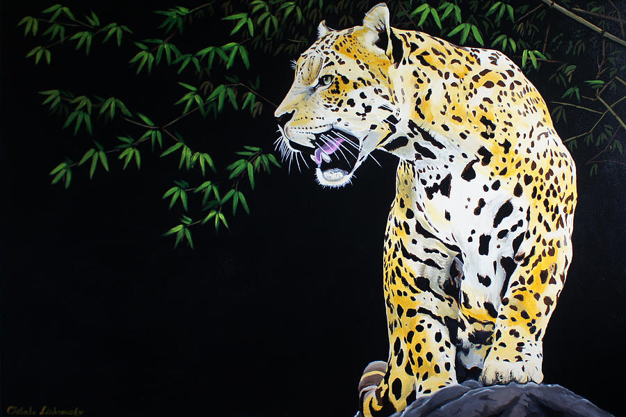 Onca Painting - Onca And Bamboo by Chikako Hashimoto Lichnowsky