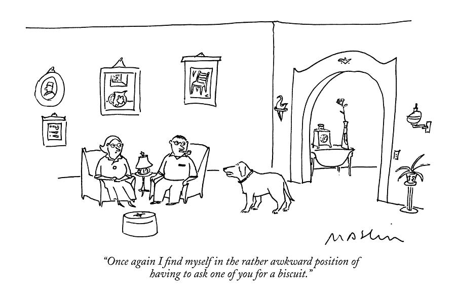 Dogs Drawing - Once Again I Find Myself In The Rather Awkward by Michael Maslin