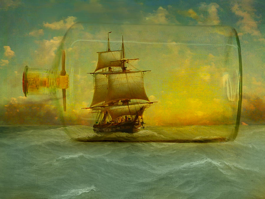 Ship Photograph - Once In A Bottle by Jeff Burgess