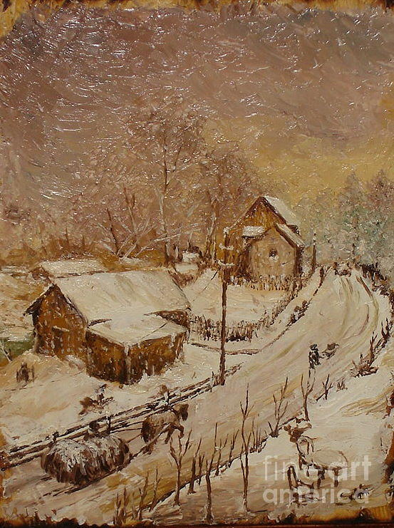 Winter Painting - Once In Azuga by Sorin Apostolescu