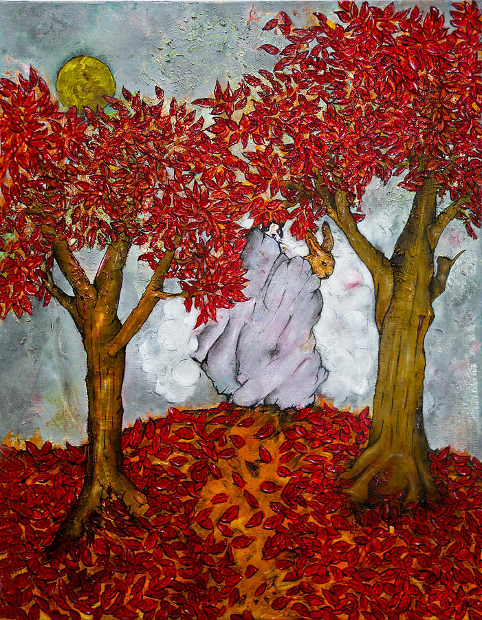 Fairytales Painting - Once Past The Two Tall Trees They Were Able To Disappear by Abigail Lee Goldberger