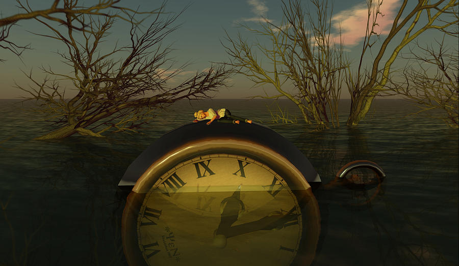 Clock Digital Art - Once Upon A Time by Whiskey Monday