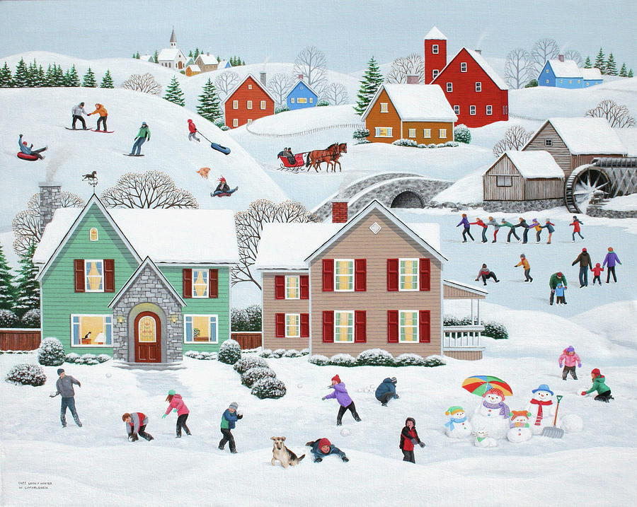 Folk Art Painting - Once Upon A Winter by Wilfrido Limvalencia