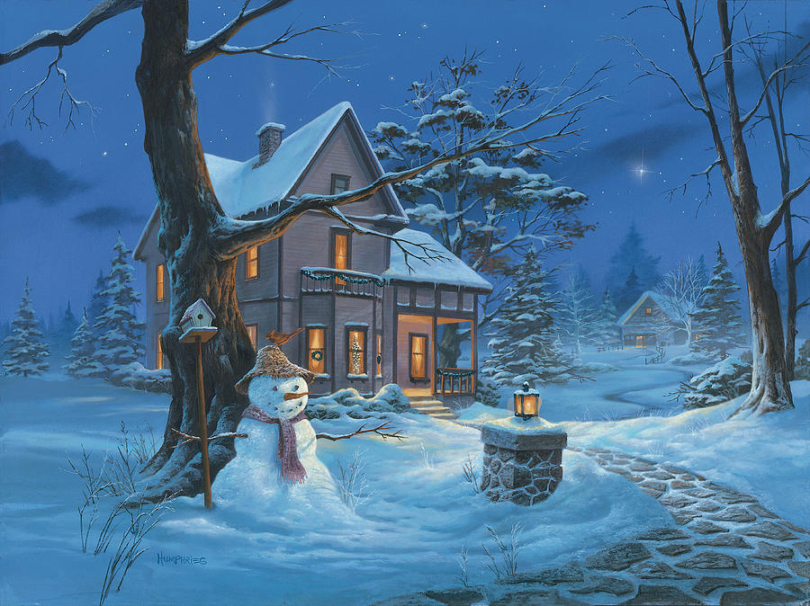 Michael Humphries Painting - Once Upon A Winters Night by Michael Humphries