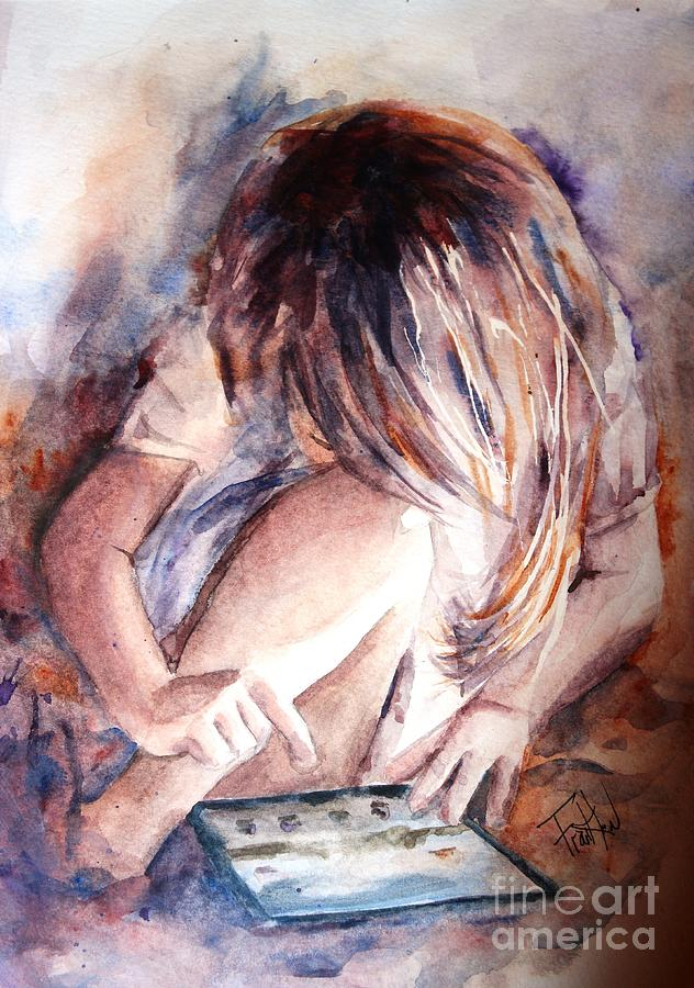 Girl Painting - Once Upon An Ipad by Leslie Franklin