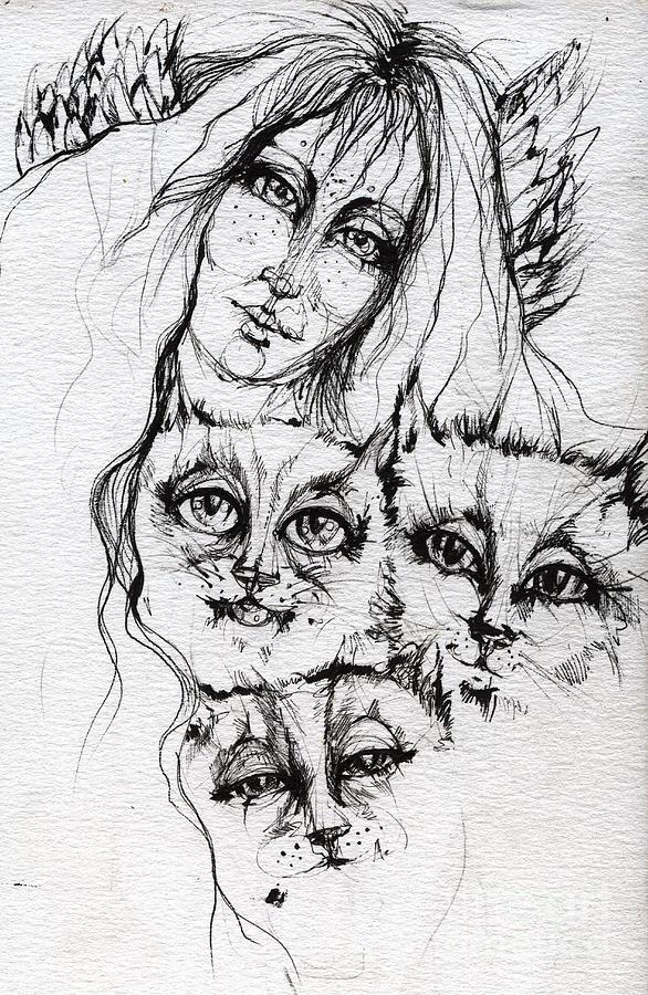 Angel Drawing - One Angel Three Cats by Angel  Tarantella
