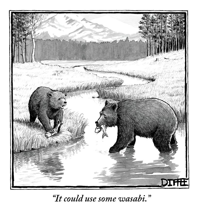 One Bear Speaks To Another As They Catch Fish Drawing by Matthew Diffee
