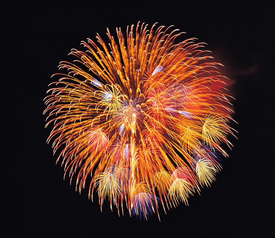 One Big Circle Of Fireworks With Black Photograph By