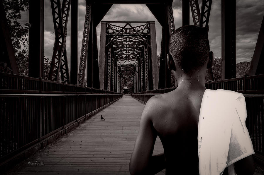Bird Watching Photograph - One Boy One Pigeon One Bridge by Bob Orsillo